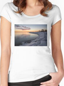 Small Cove Pink and Snowy Dawn Women's Fitted Scoop T-Shirt