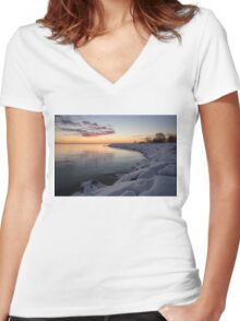 Small Cove Pink and Snowy Dawn Women's Fitted V-Neck T-Shirt