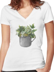 Mug with green forest growth Women's Fitted V-Neck T-Shirt
