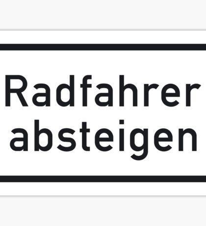 Bicyclists Dismount, Sign, Germany Sticker