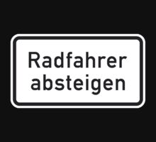 Bicyclists Dismount, Sign, Germany Kids Tee