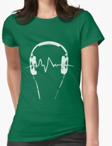 Headphones Frequency Girls funny nerd geek geeky Womens Fitted T-Shirt