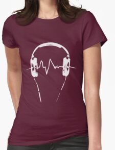 Headphones Frequency Girls funny nerd geek geeky Womens Fitted T-Shirt