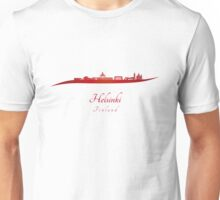 Helsinki skyline in red  Unisex T-Shirt