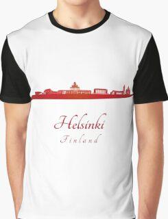 Helsinki skyline in red  Graphic T-Shirt