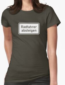 Bicyclists Dismount, Sign, Germany - Contrast Version Womens Fitted T-Shirt