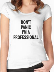 Don't Panic, Black on white Women's Fitted Scoop T-Shirt