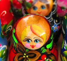 Blond Haired-Blue Eyed Matryoshka Doll by M-EK