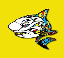 Colourful Armored Shark by sharkruleart