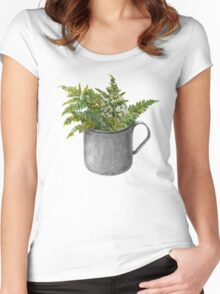 Mug with fern leaves Women's Fitted Scoop T-Shirt