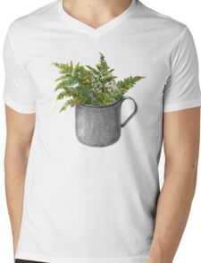 Mug with fern leaves Mens V-Neck T-Shirt