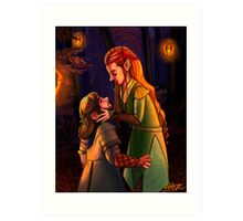 Kili and Tauriel: Lanterns Art Print