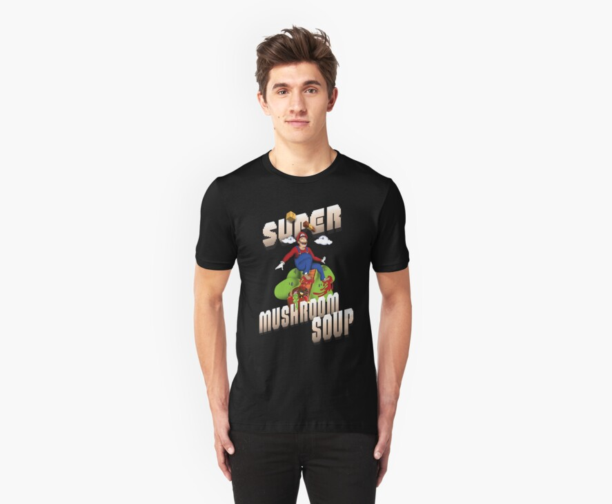 Super Mario Mushroom Soup T-shirt and Stickers by eZonkey