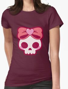 Skull Bow Womens Fitted T-Shirt