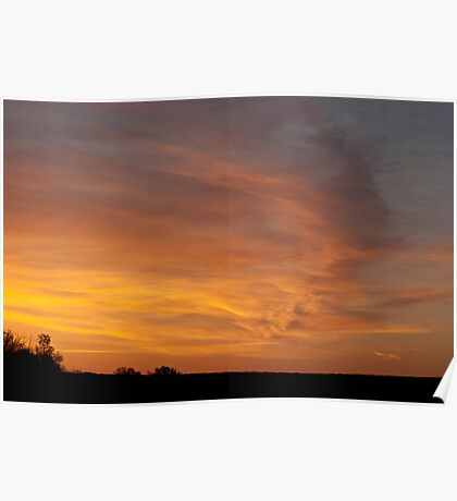 Wind Swept Sunset Clouds Poster