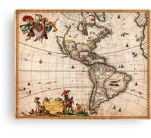 1658 Visscher Map of North America and South America Geographicus America visscher 1658 Canvas Print