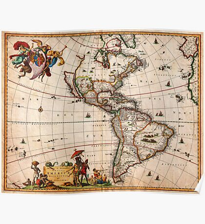 1658 Visscher Map of North America and South America Geographicus America visscher 1658 Poster