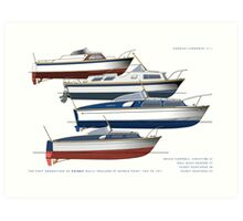 First generation of Fairey Powerboat hulls Art Print