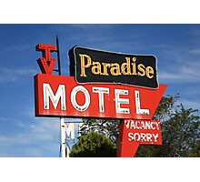 Route 66 - Paradise Motel Photographic Print