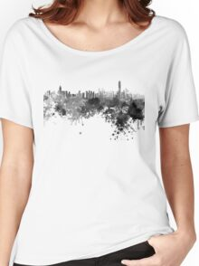 Hong Kong skyline in black watercolor  Women's Relaxed Fit T-Shirt