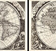 1696 Zahn Map of the World in Two Hemispheres Geographicus World zahn 1696 by Adam Asar