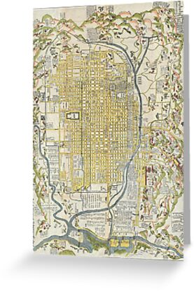 1696 Genroku 9 (early Edo) Japanese Map of Kyoto Japan Geographicus Kyoto genroku9 1696 by Adam Asar