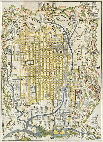 1696 Genroku 9 (early Edo) Japanese Map of Kyoto Japan Geographicus Kyoto genroku9 1696 by MotionAge Media