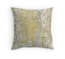 1696 Genroku 9 (early Edo) Japanese Map of Kyoto Japan Geographicus Kyoto genroku9 1696 Throw Pillow