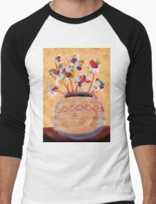 Abstract flower pot wall art CI Men's Baseball ¾ T-Shirt