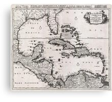 1696 Danckerts Map of Florida the WestIndies and the Caribbean Geographicus WestIndies dankerts 1696 Canvas Print