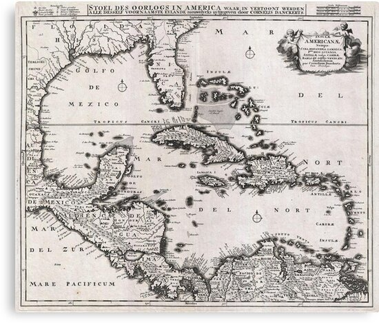 1696 Danckerts Map of Florida the WestIndies and the Caribbean Geographicus WestIndies dankerts 1696 by MotionAge Media