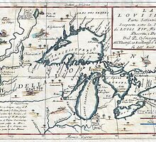 1696 Coronelli Map of the Great Lakes (Most Accurate Map of the Great Lakes in the 17th Century) Geographicus LaLouisiana coronelli 1695 by Adam Asar
