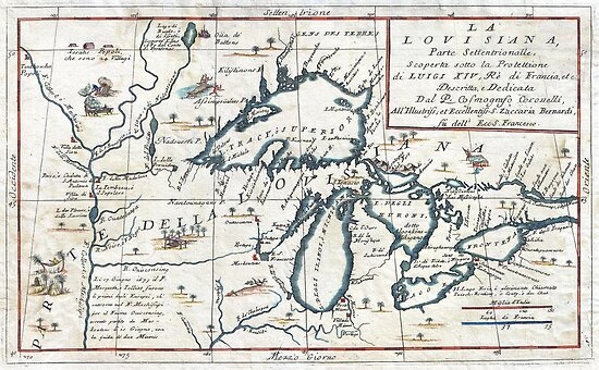 1696 Coronelli Map of the Great Lakes (Most Accurate Map of the Great Lakes in the 17th Century) Geographicus LaLouisiana coronelli 1695 by MotionAge Media