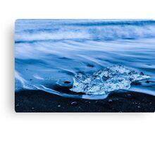 Black Sand, Blue Ice Canvas Print