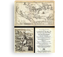 1688 Hennepin First Book and Map of North America (first printed map to name Louisiana) Geographicus NieuwVrankryk hennepin 1688 Canvas Print