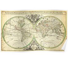 1691 Sanson Map of the World on Hemisphere Projection Geographicus World2 sanson 1691 Poster