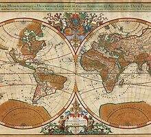 1691 Sanson Map of the World on Hemisphere Projection Geographicus World sanson 1691 by Adam Asar