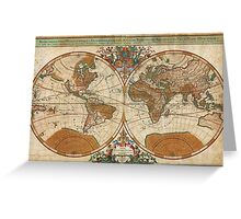 1691 Sanson Map of the World on Hemisphere Projection Geographicus World sanson 1691 Greeting Card