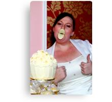 give us a kiss beautiful bride Canvas Print