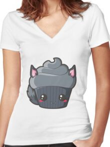 Spooky Cupcake - Werewolf Women's Fitted V-Neck T-Shirt