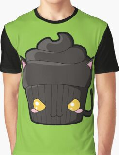 Spooky Cupcake - Black Cat Graphic T-Shirt