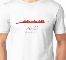 Honolulu skyline in red Unisex T-Shirt