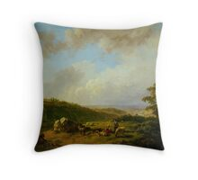 Barend Cornelis Koekkoek Landschap bij opkomende regenbui Throw Pillow