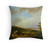 Barend Cornelis Koekkoek Landschap bij opkomende regenbui Throw Pillow