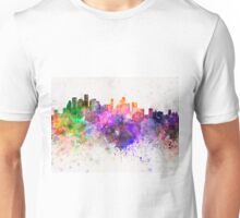 Houston skyline in watercolor background Unisex T-Shirt