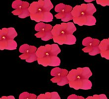 Two red blossoms repeated by CatchyLittleArt