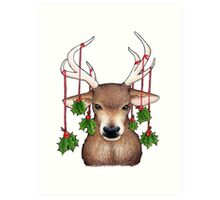 Stag with Holly Art Print