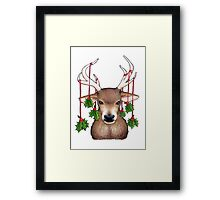 Stag with Holly Framed Print