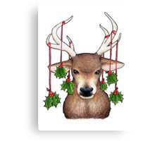 Stag with Holly Canvas Print