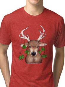 Stag with Holly Tri-blend T-Shirt